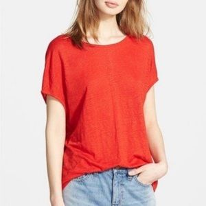 Madewell Linen Boxy Tee Red Small